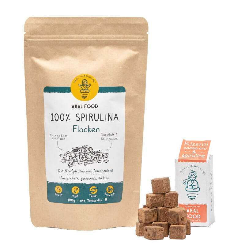 Spirulina Weihnachstpaket mit Schokoladen Trüffel & Flocken | AKAL FOOD