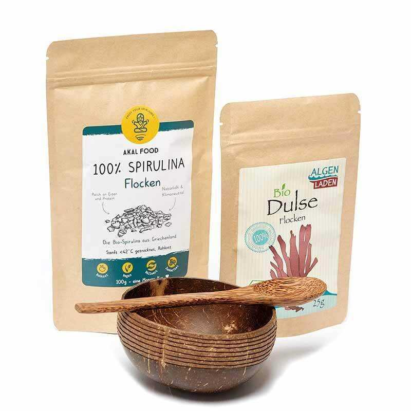 Dulse Spirulina Algen Set mit Kokos Bowl & Löffel